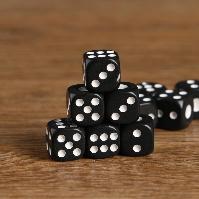 Кубики игральные 1.41.4 см, чёрные с белыми точками, фасовка 100 шт
