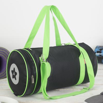 Сумка спортивная, отдел на молнии, наружный карман, цвет чёрный/салатовый - Фото 1