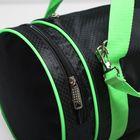 Сумка спортивная, отдел на молнии, наружный карман, цвет чёрный/салатовый - Фото 4