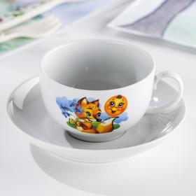 Чашка чайная с блюдцем Дулевский фарфор «Приключения Колобка», 210 мл, рисунок МИКС