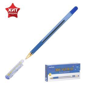 Ручка шариковая MC Gold, резиновый упор, узел 0.7мм, стержень синий
