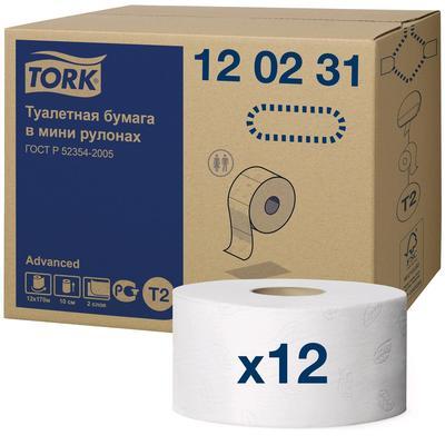 Туалетная бумага для диспенсера Tork в мини рулонах (T2), 1214 листов - Фото 1