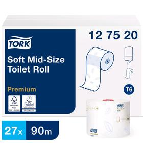 Туалетная бумага для диспенсера Tork Mid-size в миди рулонах (T6) мягкая, 90 метров