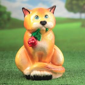 Садовая фигура 'Кот с цветком', глянец, оранжевый цвет, 38 см Ош