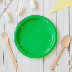 Тарелка бумажная, однотонная, 18 см, зелёный цвет