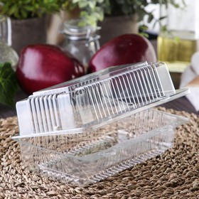 Контейнер одноразовый с неразьёмной крышкой, 18,4×11,2×7,9 см, цвет прозрачный