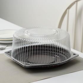 Тортница одноразовая с разъёмной крышкой УТ30, круглая, 22×10 см, цвет белый, прозрачный