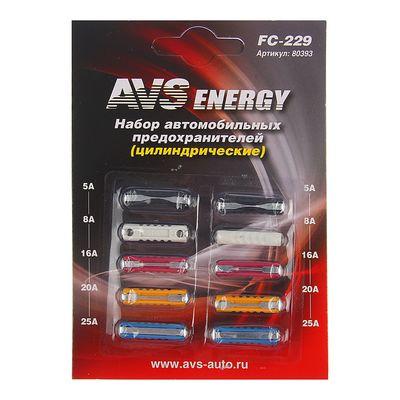 Предохранители AVS FC-229, цилиндрические, 5-25 А, набор 10 шт
