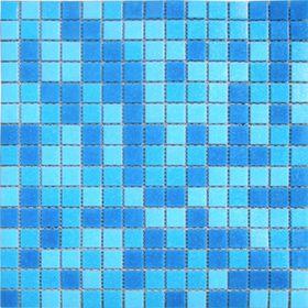 Mозаика стеклянная Elada Mosaic МС107Р, голубая на бумаге, 327х327х4 мм Ош
