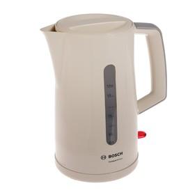 Чайник электрический Bosch TWK3A017, пластик, 1.7 л, 2400 Вт, бежевый