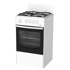Плита Darina S GM 441 001 W, газовая, 4 конфорки, 50 л, газовая духовка, белая