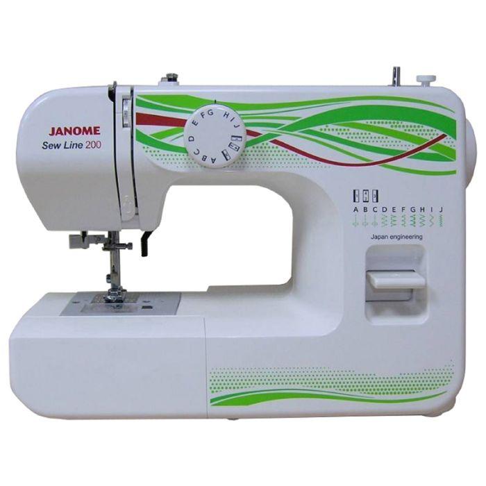 Швейная машина Janome Sew Line 200, 40 Вт, 11 операций, полуавтомат, бело-зелёная
