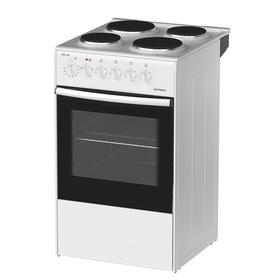 Плита Darina S EM 341 404 W, электрическая, 4 конфорки, 50 л, эмаль, без гриля, белая