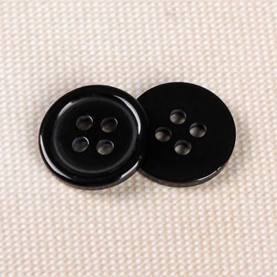 Пуговица, 4 прокола, d = 15 мм, цвет чёрный