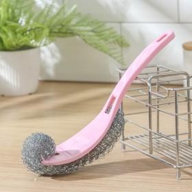 Губка для мытья посуды с ручкой Доляна, 24×5 см, металл, цвет МИКС Ош