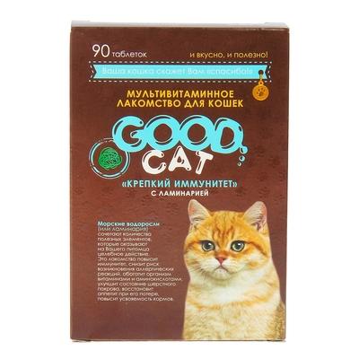 Мультивитаминное лакомство GOOD CAT для кошек, крепкий иммунитет, с ламинарией, 90 таб - Фото 1