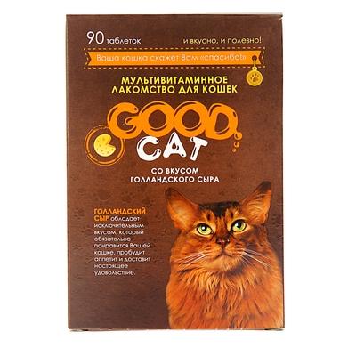 Мультивитаминное лакомство GOOD CAT для кошек, голландский сыр, 90 таб - Фото 1