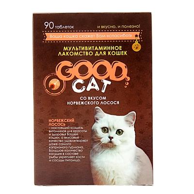 Мультивитаминное лакомство GOOD CAT для кошек, норвежский лосось, 90 таб - Фото 1