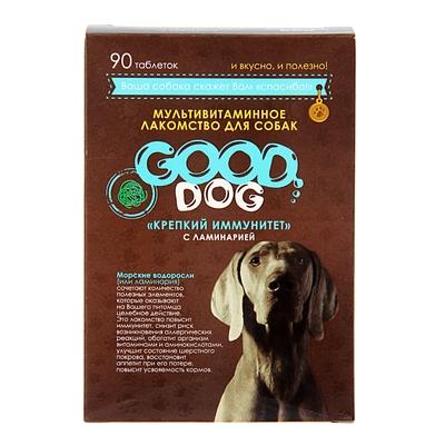 """Мультивитаминное лакомство GOOD DOG для собак, """"Крепкий иммунитет"""", 90 таб - Фото 1"""