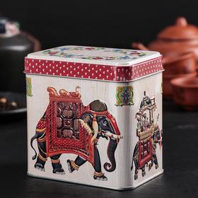 Банка для сыпучих продуктов «Индийский слон», 600 мл, прямоугольная, цвет МИКС