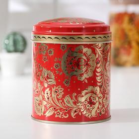 Банка для сыпучих продуктов «Русский узор. Цветы», 800 мл, d=9,9 см, круглая