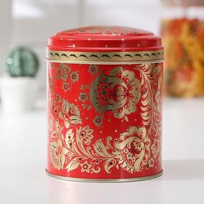 Банка для сыпучих продуктов «Русский узор. Цветы», 800 мл, d=9,9 см, круглая - Фото 1