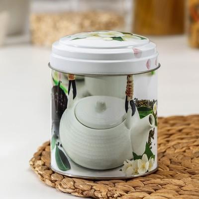Банка для сыпучих продуктов «Чайная церемония», 800 мл, d=9,9 см, круглая, МИКС - Фото 1