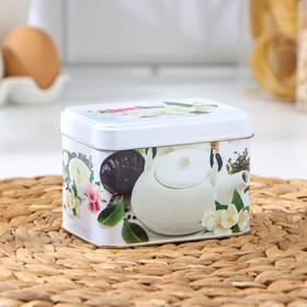 Банка для сыпучих продуктов «Чайная церемония», 400 мл, d=6,9 см, прямоугольная, МИКС