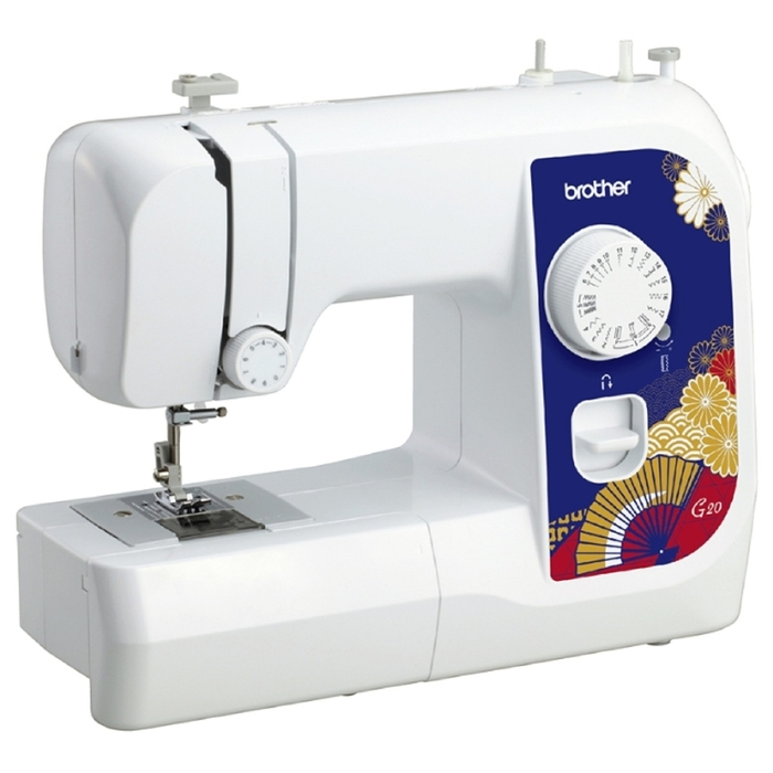 Швейная машина Brother G 20, 50 Вт, 17 операций, полуавтомат, бело-синяя