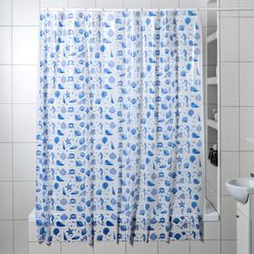 Штора для ванной комнаты «Ракушки», 180×180 см, полиэтилен, цвет белый Ош