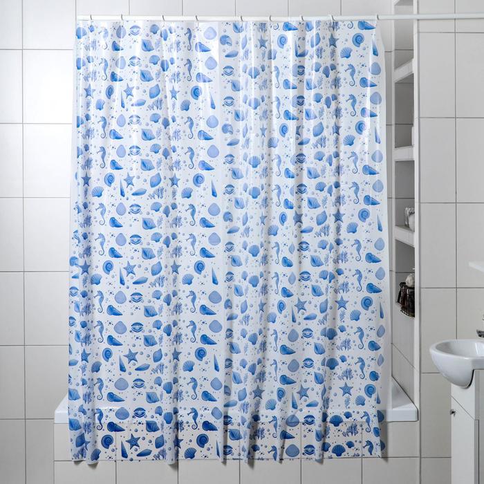 Штора для ванной комнаты Ракушки, 180180 см, полиэтилен, цвет белый