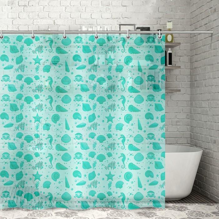 Штора для ванной комнаты Ракушки, 180180 см, полиэтилен, цвет зелёный