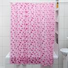 Штора для ванной комнаты «Ракушки», 180×180 см, полиэтилен, цвет розовый