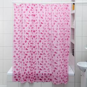 """Штора для ванной 180×180 см """"Ракушки"""", цвет розовый"""
