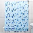 """Штора для ванной 180×180 см """"Кораблики"""", цвет голубой"""