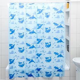 Штора для ванной комнаты «Дельфины», 180×180 см, полиэтилен, цвет голубой Ош