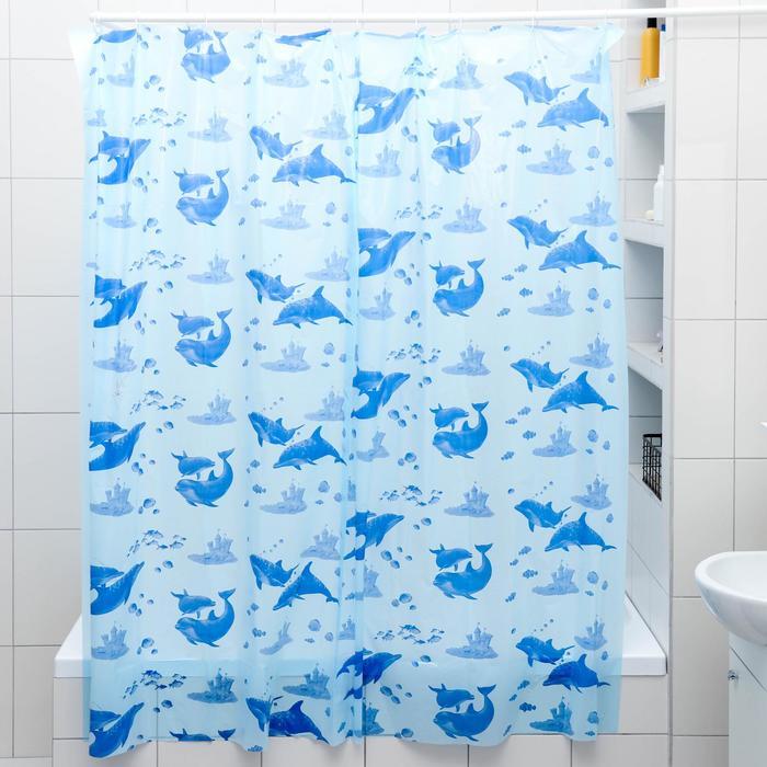 Штора для ванной комнаты Дельфины, 180180 см, полиэтилен, цвет голубой