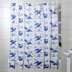 """Штора для ванной 180×180 см """"Дельфины"""", цвет белый"""