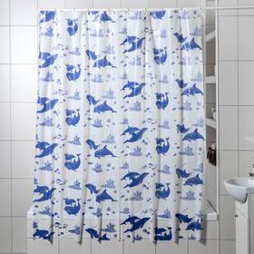 Штора для ванной комнаты «Дельфины», 180×180 см, полиэтилен, цвет белый Ош
