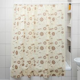 Штора для ванной комнаты «Кораблики», 180×180 см, полиэтилен, цвет охра Ош