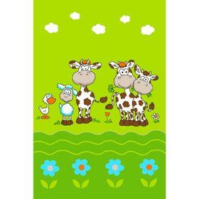 Ковер велюровый «Коровки», 100х150 см, зелёный Ош