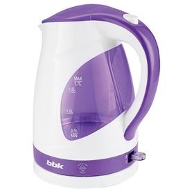 Чайник электрический BBK EK1700P, пластик, 1.7 л, 2200 Вт, бело-фиолетовый