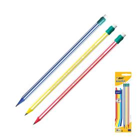 Карандаш чернографитный, c ластиком, HB, корпус с полосками, BIC Evolution Stripes