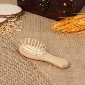 Расчёска-мини массажная, деревянная, цвет «светлое дерево» Ош
