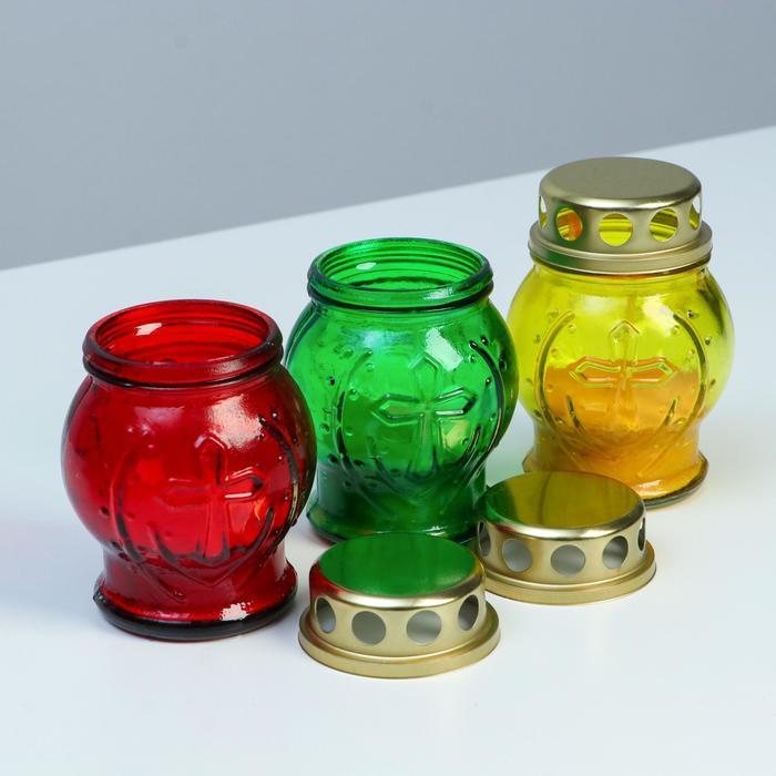 Свеча парафиновая поминальная в стеклянном подсвечнике , микс