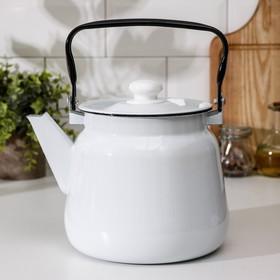 Чайник Сибирские товары, 3,5 л, эмалированная крышка, цвет белый