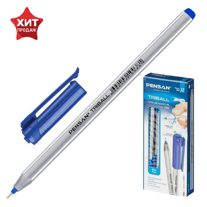 """Ручка шариковая масляная Pensan """"Triball"""", чернила синие, трехгранная, узел 1 мм, линия письма 0,5 мм"""