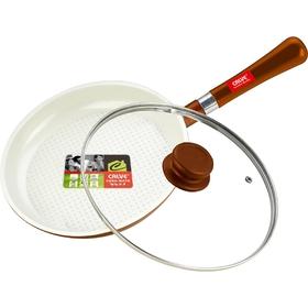 Сковорода d=24 см, с крышкой, с керамическим покрытием, съёмная ручка
