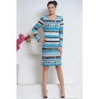 Платье, размер 48, рост 164 см, цвет бирюза/серый/чёрный (арт. 4991а)