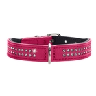 Ошейник кожаный для собак  Hunter Diamond petit 27, 20-24 см, со стразами, розовый